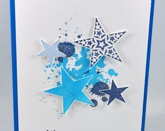 Birthday Card, Greeting Card, Happy Birthday, Birthday Wishes, Birthday Boy, For Him, Masculine, Kids Birthday, Blue, White, Stars