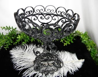 Black Iron Metal Decorative Bowl - Gothic Home Decor - Very Ornate - Unisex Gift - Vintage Home Accent