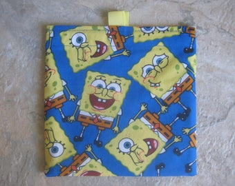 Sponge Bob Square Pants Reusable Sandwich Bag, Reusable Snack Bag, Washable Treat Bag, with easy open tabs