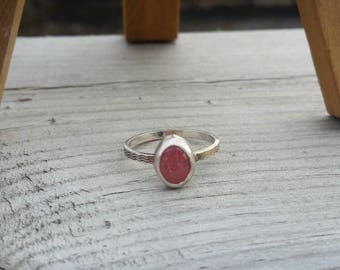 Pink Gemstone Stacker Ring, Rhodochrosite Sterling Silver Ring, Handmade
