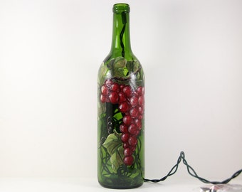 Wine Bottle Light Hand Painted with Red Grapes, Glass Kitchen Accent, Bar Decor, Winery Art, Orchard Fruit, Painted Grapes on Wine Bottle