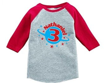 Personalized Birthday Planet Outer Space Shirt -3/4 or long sleeve relaxed fit raglan baseball shirt - Any age and name - pick your colors!