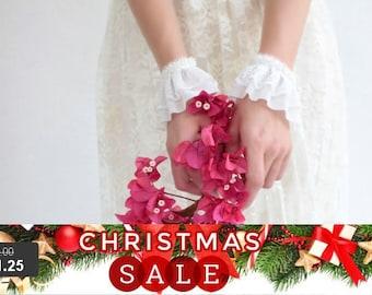 Christmas SALE SALE-  wedding cuffs lace gloves ivory bridal bracelet