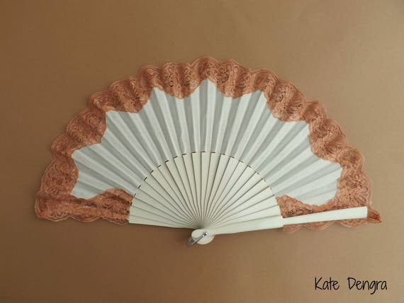 Cream and Rose Gold Lace Hand Fan