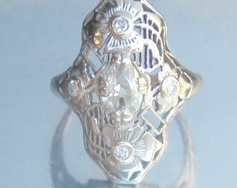 Antique Art Deco Flapper Flower Old Mine Diamond Ring 18K. Belais Brothers