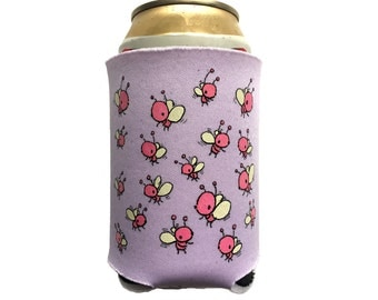bug can coolie (lilac), cute can coolie, bug cozy, can cooler, purple can coolie, drink holder