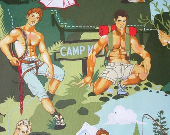 Alexander Henry Outdoorsy Type, Outdoor Hunks Fabric, Camping Hunks, Hunks Fabric, Oversized Figures, Green Background, By the Yard