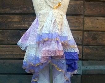 Girls size 5-6. Pink purple beige bohemian flower girl. Mori Girl dress with loads of lace. Rustic flower girl.