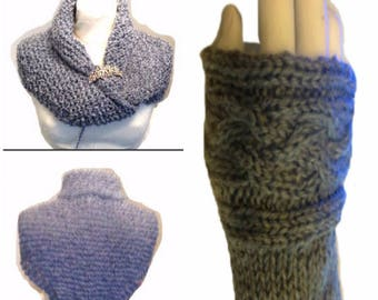 Claire's Inspired Set PDF Pattern  Shawl and Arm Warmers Fingerless Gloves # 1 Sassenach Knitting Pattern