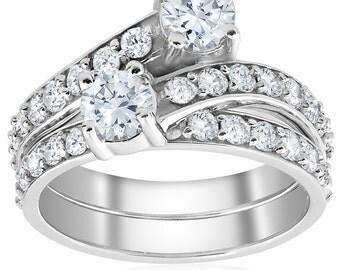 2 ct Forever Us 2 Stone Diamond Engagement Ring Matching Wedding Band 10k White Gold