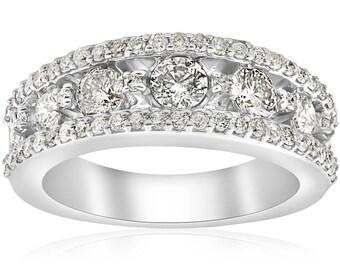 Wide Diamond Wedding Ring 1 5/8ct Diamond Ring 14k White Gold Solid Heavy Diamond Wedding Band Womens Stackable Anniversary Jewelry