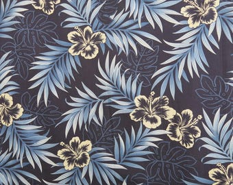 Vintage Hawaiian Cotton Fabric Navy Blue Shades Hibiscus 1 Meter 824b