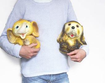 Large Vintage Yellow Rubber Toys. Elephant and Dog. Kitsch Vintage. Nursery Decor.