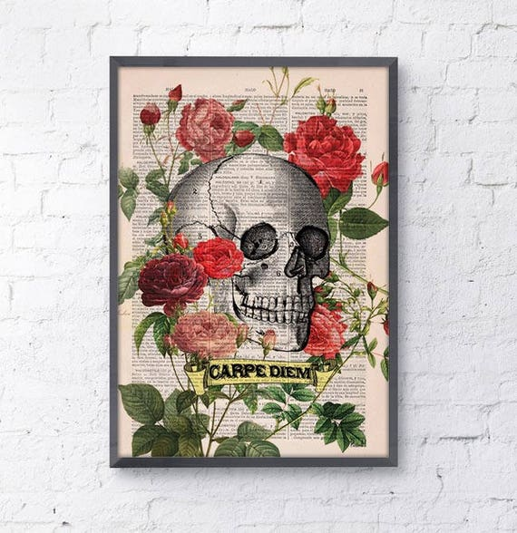 Christmas Sale CARPE DIEM - Roses Skull Tatoo -skull art print Wall Art Book Print on Vintage Dictionary Page,decor poster art SKA075b