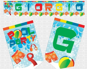 Winter Pool Party Banner, Printable file, Personalized