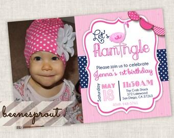 Flamingo Birthday Invitation Girl