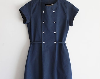 Summer dress for woman, chambray dress, cotton dress, denim dress, nursing dress. Petite size. Sustainable clothing, made in Italy.