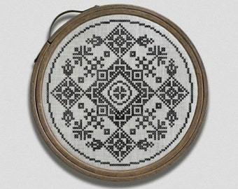 PDF Folklore Hoop cross stitch patterns by Modern Folk at thecottageneedle.com monochromatic Celtic