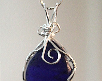 Handmade Wirewrapped Large Blue Sea Glass on Sterling Silver chain
