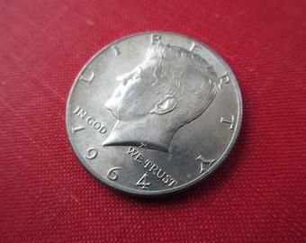 1964 circulated US John F. Kennedy half dollar - 90% silver