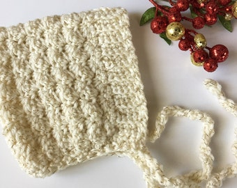 BELL crochet pixie baby bonnet - ivory tinsel  - MADE to ORDER