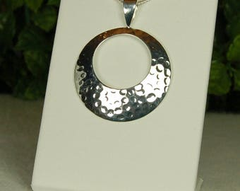 Sterling Silver Pendant, Hammered Texture, Silver Circle, Contemporary Style, Hammered Silver, Silver Circle Pendant