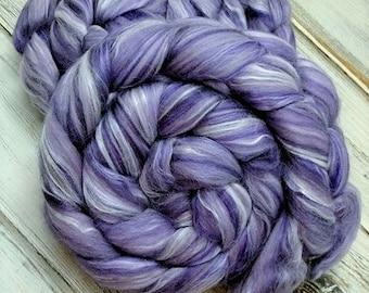 Purple Haze 4oz 50/35/15 Superfine Merino/Bamboo/Tussah Silk Spinning Fiber Felting Combed Top Roving