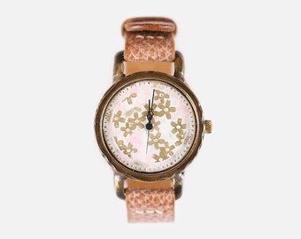 Vintage Steampunk Handmade Woman Wrist Watch with Handstitch Leather Band /// CalliaM - Perfect Gift for Birthday, Anniversary