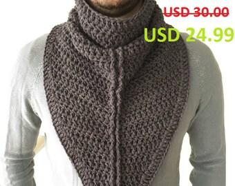 Crochet Scarf / Mens Crochet Scarf / Cowl Scarf / Men Cowl Scarf / Infinity Scarf / Knit Scarf / Crochet Neck Warmer