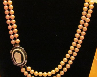 Vintage Double Strand Pearl Necklace with Detachable Cameo
