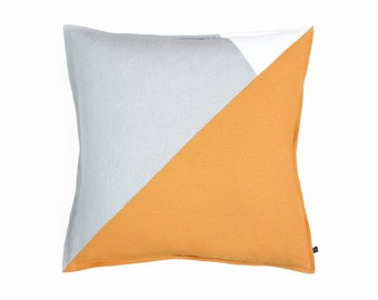 Orange decorative pillow Color block, Linen pillow cover, Geometric pillows, Dove grey and rust pillow covers made of very soft linen fabric