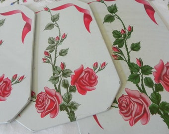 Vintage Set of Shabby Roses Hot Plates