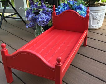 """American Girl Doll: Furniture bright red  'Lil Elena bed for 18"""" doll"""