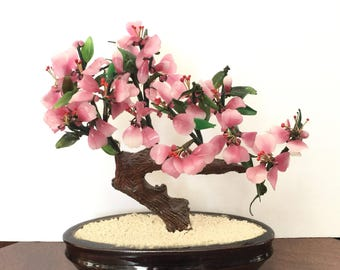 Vintage Chinese Glass Bonsai Potted Cherry Tree