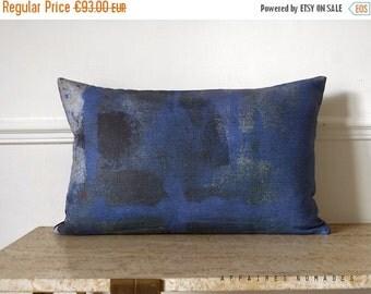 """SALE Royal blue.  Modern abstract art pillow. Linen & velvet pillow. Rectangle 14""""x 22""""  Vintage influence  Hidden .. / RETRO-MODERN"""