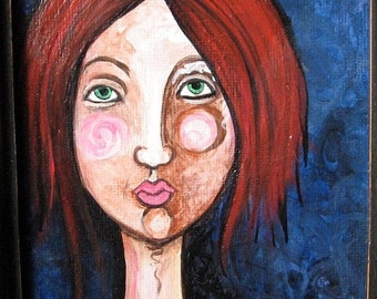 50% Off Sale Original Painting - Girl with Red Hair  - Ready To Hang - Small Painting Framed 6x8