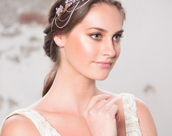 Gatsby rose gold headpiece, 1920s rose gold headband, grecian rose gold headpiece, crystal rose gold vintage hedpiece, large rose gold band
