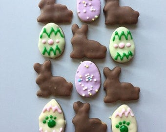 Mini Easter Dog Treats - Eggs and Bunnies - Peanut Butter or Apple cookies with pastel icing - Carob Icing - All Natural Dog Treats