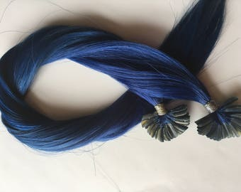 Royal Blue Cobalt 100% Human Hair Extensions Keratin Glue Nail Utip Pre Bonded Tipped Hair for Fusion Install 18-20 inches