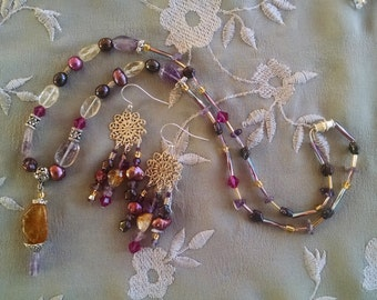 Cirine amethyst fuchsia necklace earring set, Citrine, amethyst, crystal, pearl pendant necklace chandelier earring set
