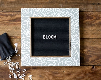 BLOOM Pattern Letter Board - 13''x13'' - Felt - Changeable Plastic Letters.