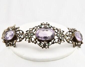 Art Nouveau Edwardian Amethyst, Peridot, Seed Pearl 935 Fine Sterling Silver Bracelet