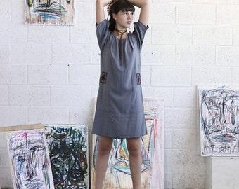 Pre Winter Sale 15% Embroidered Dress, Grey Midi Dress, Grey Casual Dress
