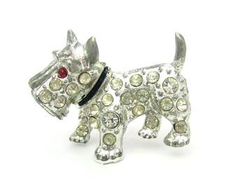 Scottie Dog Brooch. Small Rhinestone Scotty. Ruby Red Eye, Pot Metal, Black Collar. Vintage 1950s Figural Scottish Terrier Jewelry
