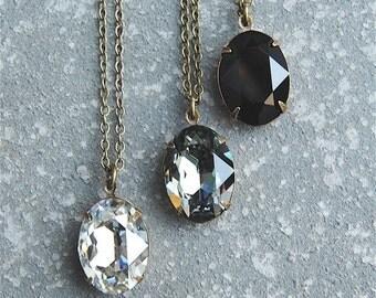 Silver Black Gray Simple Pendant Necklace Swarovski Crystal Oval Drop Necklace Black Diamond Silver Shade Jet Bridesmaid Gift Wedding