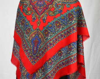 "70s/80s amazing large red and multicolour paisley shawl with fringed edges 46"" X 46"""