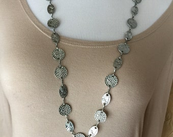 Beautiful antique silver chain necklace bracelet and earrings