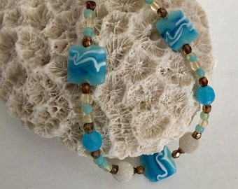 Ocean necklace, turquoise, sand colored, bronze handmade necklace, handcrafted lampwork beads, ocean wave beads