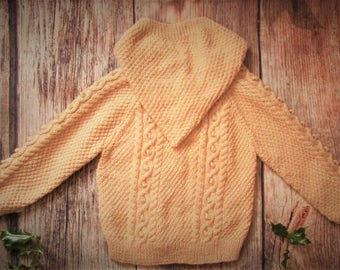 Hand knitted toddler boy girl jumper hoodie aran cable sweater jacket with hood, beige, stone, biscuit children's handmade cardigan OOAK