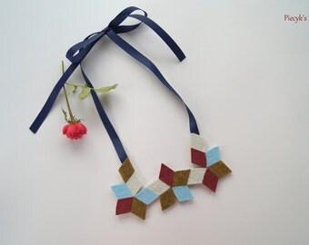 Starry Bib Necklace - Blue Gold Maroon Ecru Felt Bib Necklace OOAK